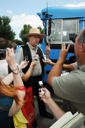 Michael Schmidt talks to reporters after a motion hearing July 31, 2008