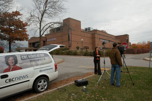 CBC TV crew on location at the Newmarket courthouse Monday Oct 20