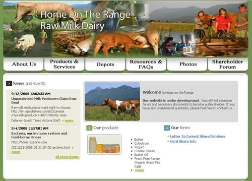 """Home page for new """"Home on the Range"""" cowshare website from our friends in Chilliwack, BC. Bravo!"""