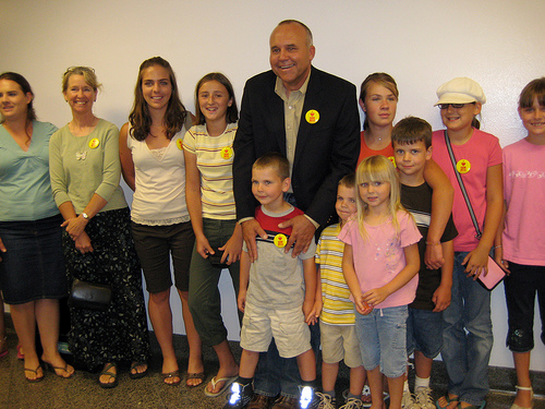 Mark MacAfee with supporters at the April 2008 Senate hearings.