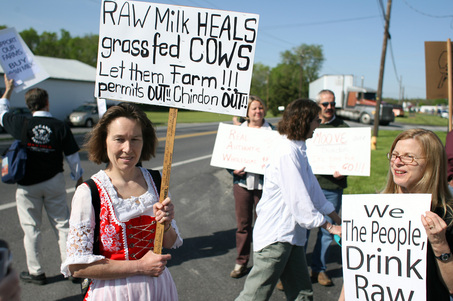 Supporters of Cumberland County farmer Mark Nolt gather outside the office of District Judge Susan Day in South Middleton Twp. during Nolt's summary trial.