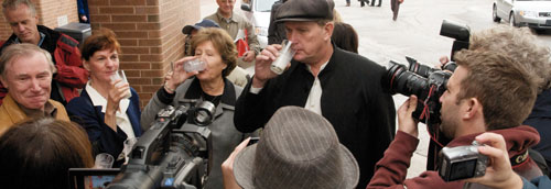 """Many of Michael's supporters joined in the """"milk toast"""""""