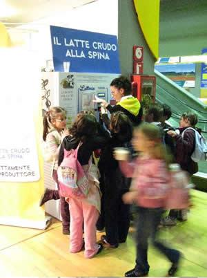 Raw milk on tap in Turin Italy.