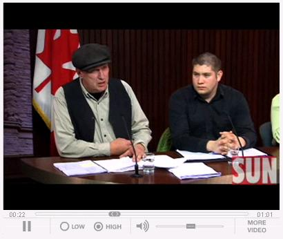 Michael Schmidt and Sean McGivern at Queens Park press conference Nov 18, 2008. Click on picture to go to Sun Media video.