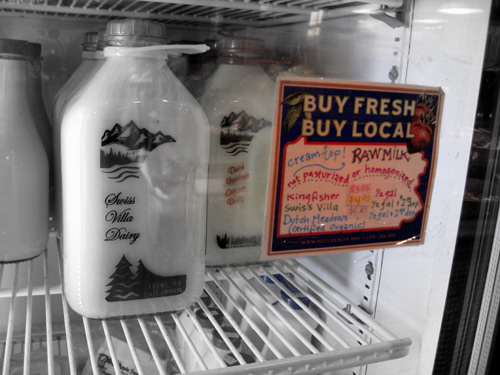 Raw milk for sale to the public at Fair Food Farmstand in Pennsylvania