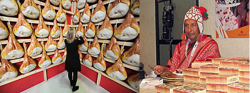 The two worlds of slow food. Photo on left by Giuseppe Cacace/AFP Photo/Newscom. Photo on right by Lisa Abend.